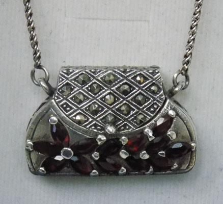 Sterling silver & garnet purse necklace