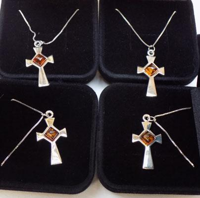 4x 925 Silver & Amber pendants on silver chains