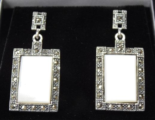 Art Deco silver Mother of Pearl & Marcasite ear rings
