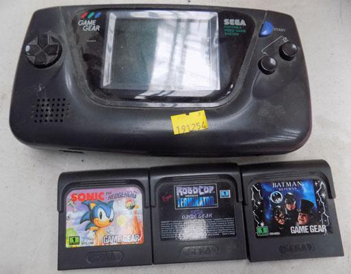 Retro handheld Sega console with games