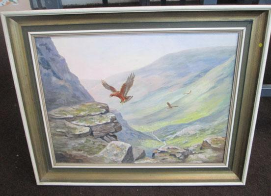 J Currie oil on canvas 'Eagles Lair'