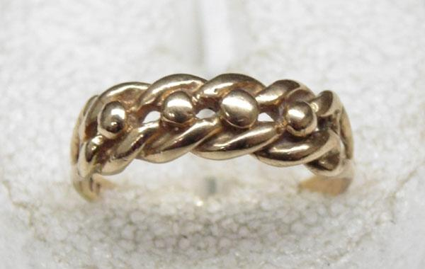 9ct Gold single row keeper ring size M