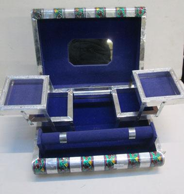 Silver coloured jewellery box