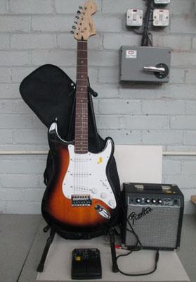 Squire Fender guitar and Fender  and amp and pedal