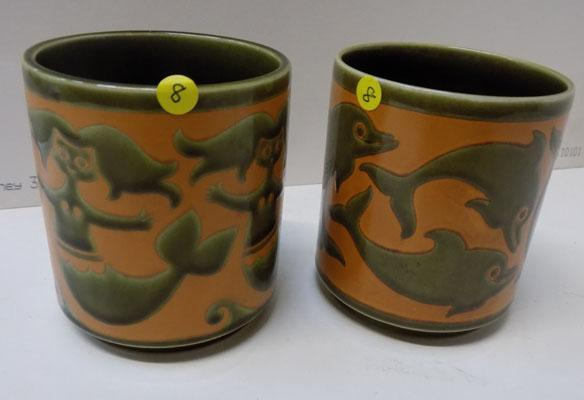 2x Hornsea Pottery rare Dolphin pen holder