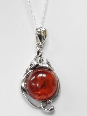 Art Nouveau silver Amber pendant on silver chain