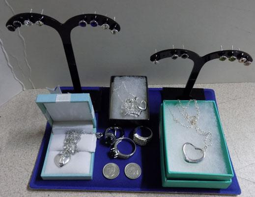 Selection of sterling silver jewellery