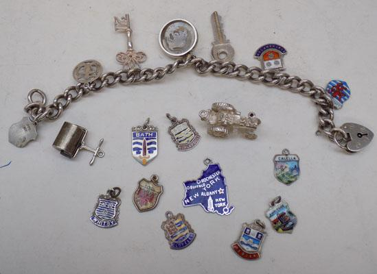 Heavy silver charm bracelet & selection of charms