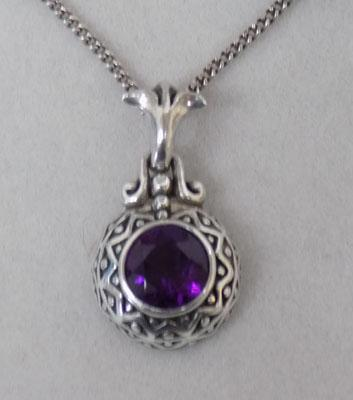 Sterling 925 silver Amethyst necklace