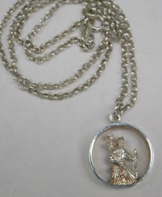 Sterling silver St Christopher pendant on silver chain