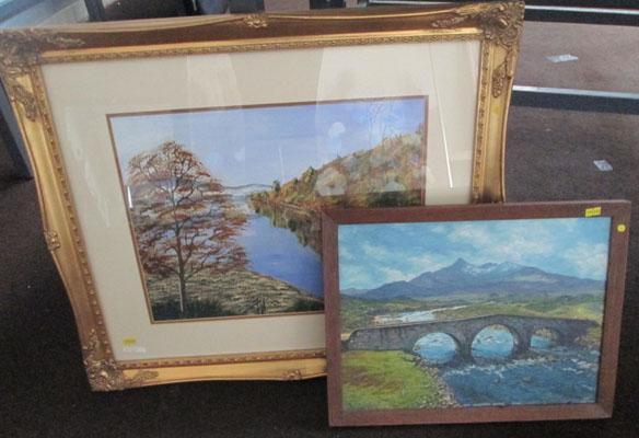 Gilt frame Glen Afflic painting and L.Oldfield oil on board