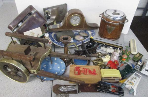 Box of bric a brac inc clock, pots etc