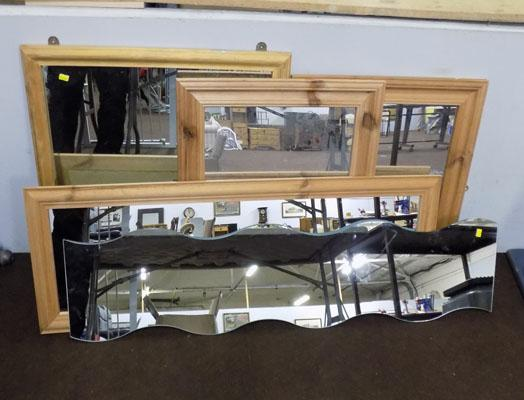 Selection of mirrors inc  4 pine frames