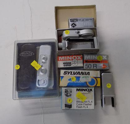 Minox Model B spycamera w/o, & binocular attachment, 2 flash units, bulbs & film