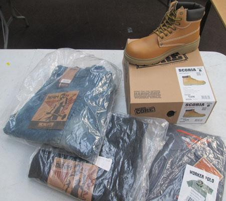 "2x Pairs of 36"" denim work trousers, 1x large polo & pair of tan safety boots size 8"