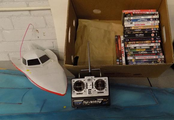 Selection of DVD's, remote control boat sails