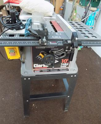 "Clarke woodworker 10"" table saw & attachments"