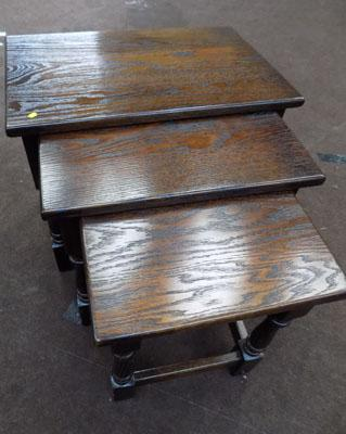 Jayces nest of 3 dark wood tables