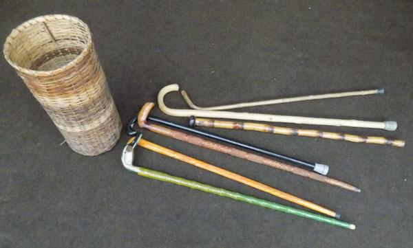 Basket of walking sticks