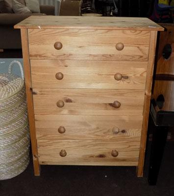 Pine 5 drawer unit