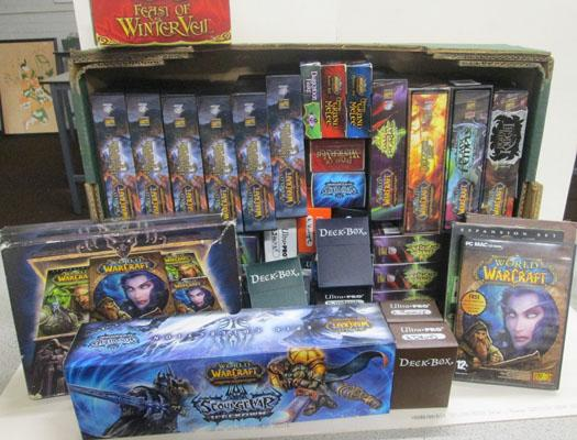 Warcraft cards, games, empty chard holders & more