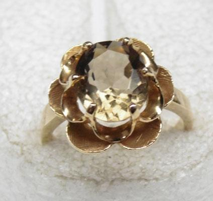 9ct Gold Citrine flower ring size K