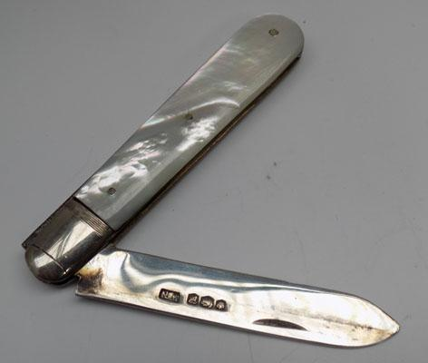 Silver & mother of Pearl fruit knife Sheffield hallmark