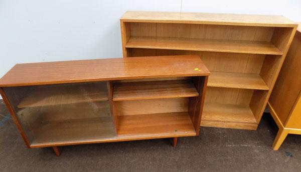 Oak bookcase & glass fronted bookcase