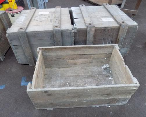 2x Wooden storage boxes & other box