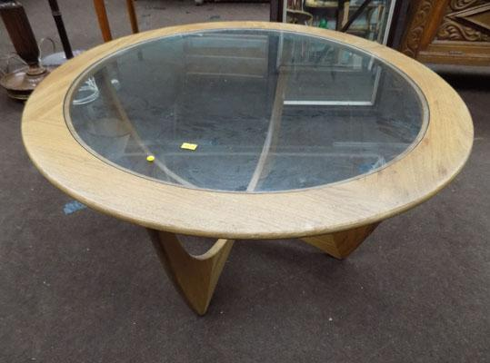 Danish round glass top coffee table