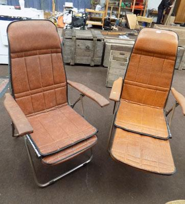 Pair of folding & reclining retro tan leather chairs