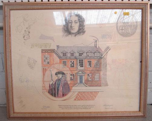 Picture of the design of £50 note signed by Chief Cashier and banknote designer 37/500