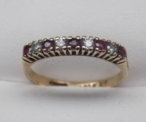 9ct Gold Ruby 1/2 eternity ring