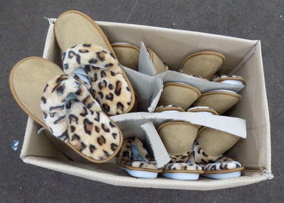 Box of Leopard print slippers