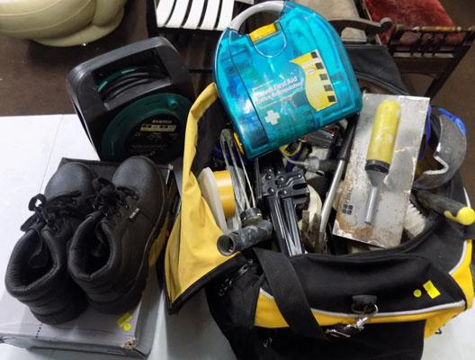 Bag of mixed tools & used safety boots size 5