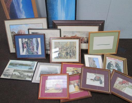 Box of pictures and frames - some vintage