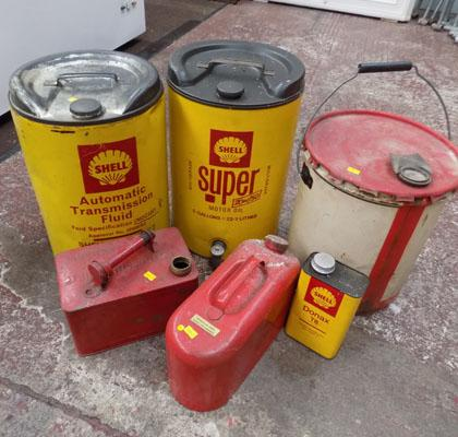 2x Shell Oil 22.1 litres drums & others