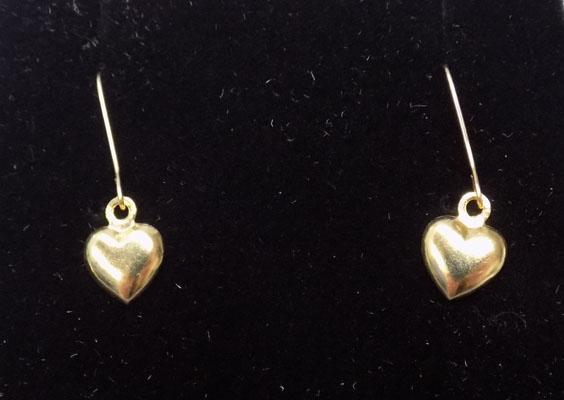 Pair of 18ct gold heart ear rings