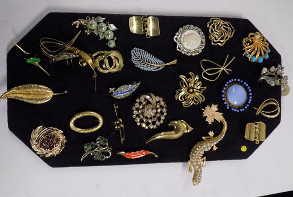 Collection of vintage brooches on display