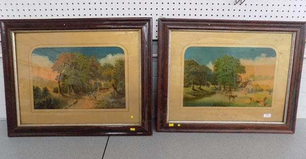 2 Victorian Agrarian scenes in vintage frames