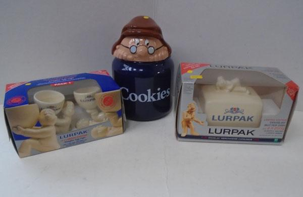 Lurpak eggcups and butter dish and Tetley cookie jar