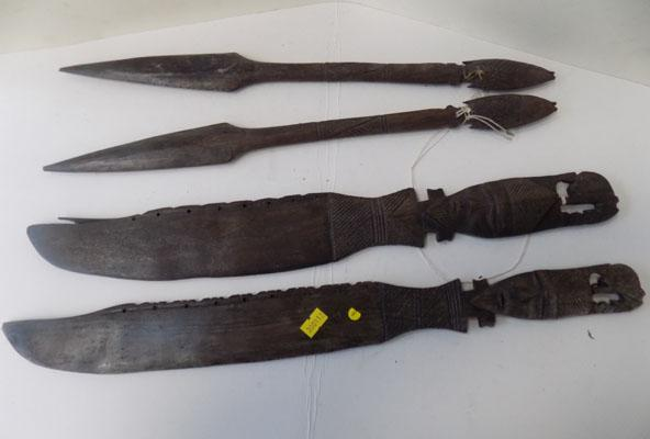 4 Wooden African weapons