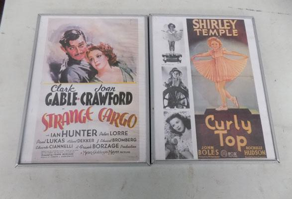 2 movie posters in frames of Shirley Temple and Clark Gable