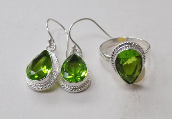 Silver peridot ring and earrings