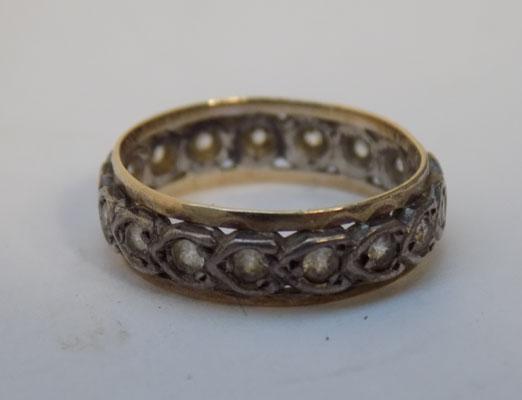 9ct gold and silver clear stone ring