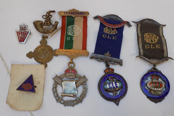 3 sterling silver GLE medals and other medals