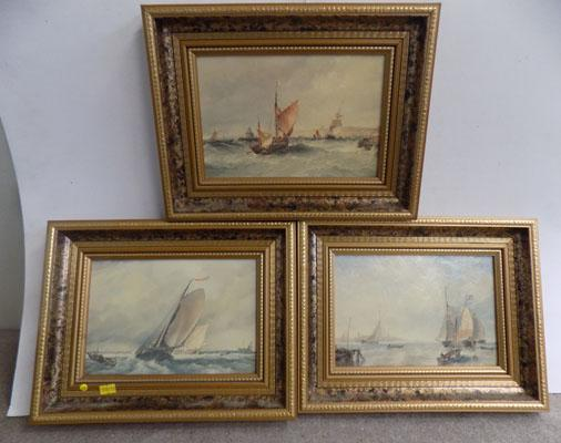 3 sailing paintings by Edward W Cooke