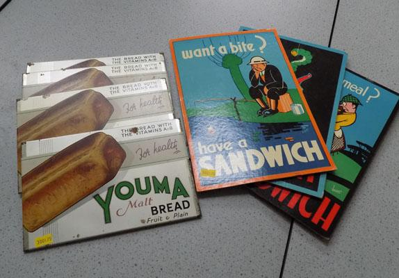 4 Bread signs and 3 cardboard sandwich signs