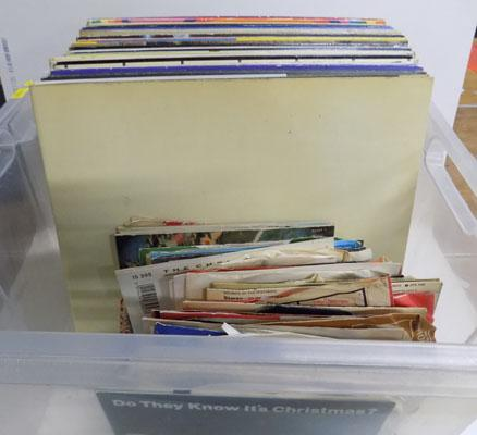 Box of assorted LPs and singles