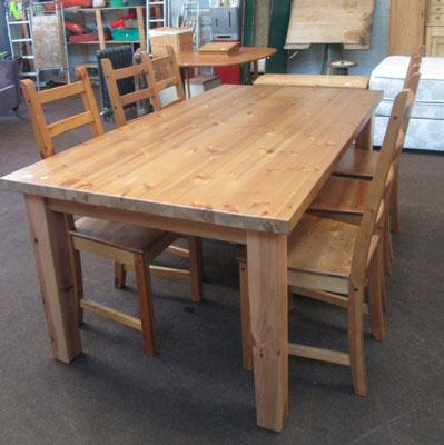 Pine table and six chairs